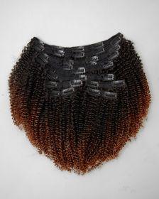 TÊTE COMPLÈTE Couleur ombrée Extensions de cheveux clips-in texture FRISÉS