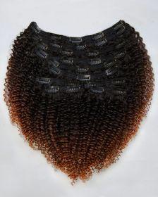 TÊTE COMPLÈTE Couleur ombrée Extensions de cheveux clips-in texture bouclée