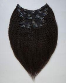 TÊTE COMPLÈTE Extensions de cheveux clips-in texture CRÉPUE BLOW OUT