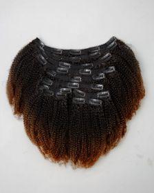 TÊTE COMPLÈTE Couleur ombrée Extensions de cheveux clips-in texture crépue