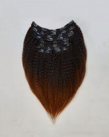 TÊTE COMPLÈTE Couleur ombrée Extensions de cheveux clips-in texture crépue BLOW OUT