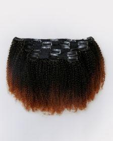 Couleur ombrée Extensions de cheveux clips-in texture crépue